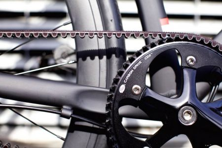 Close up of bicycle carbon belt drive