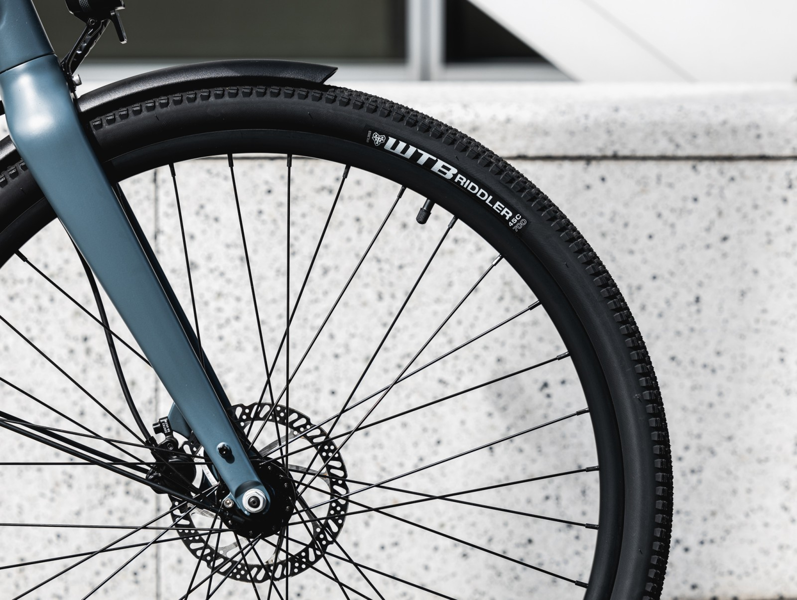 Close up of black bicycle tyre